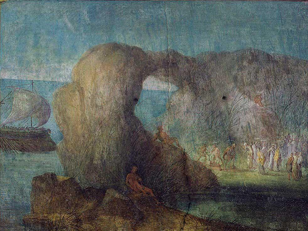 Paesaggi con scene dell'Odissea. Affresco, staccato proveniente da scavo di una domus in via Graziosa, odierna via Cavour (7 aprile 1848) Metà del I sec. a.C. (prima del 46 a.C.). Musei Vaticani, Roma.