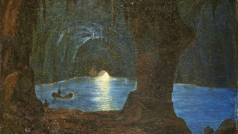 Grotta Azzurra di Capri, 1834 - August Kopisch. (Die Blaue Grotte auf Capri). Oil on canvas, 30 x 39 cm. (Courtesy Preußische Schlösser und Gärten Berlin-Brandenburg / Photo: Wolfgang Pfauder)