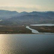 Sardegna, Foce del fiume Flumendosa dal cielo (foto aerea) (Muravera, Villaputzu, Porto Corallo)