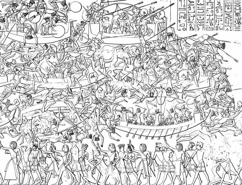 Illustrazioni ricavate dai bassorilievi delle pareti del tempio di Medinet Habuche che illustrano la Battaglia di Ramses III contro i Popoli del Mare.