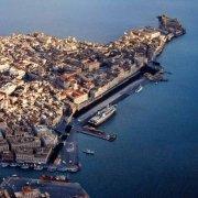 Siracusa l'isola centro storixo di Ortigia dal cielo