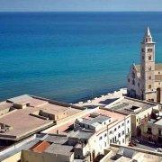 Cattedrale di Trani in riva al mare dal cielo