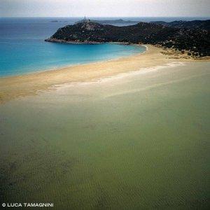 Sardegna, Villasimius Porto Giunco e Stagno di Notteri dal cielo (foto aerea)