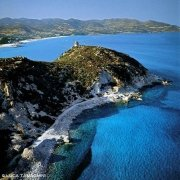 Sardegna, Villasimius Cava Usai dal cielo (foto aerea)