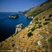 Torre Crapolla la costa e l'Isola di Isca dal cielo