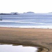Sardegna, Villasimius Stano di Notteri e Spiaggia Timi Ama sullo sfondo Punta Molentis e l'Isola di Serpentara
