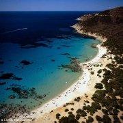Villasimius Porto Sa Ruxi dal cielo con spiaggia e mare (foto aerea)