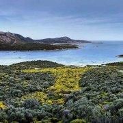 Sardegna, la baia di Capo Malfatano (Porto Malfatano) luce crepuscolare sullo sfondo il mare e la costa di Capo Spartivento / Luca Tamagnini Catalogo 2010-006