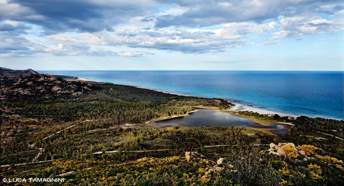 Sardegna, Stagno di Bidderosa ripresa dall'alto