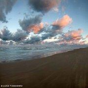 Spiaggia al tramonto con mare mosso nei pressi di Torre del Cerrano