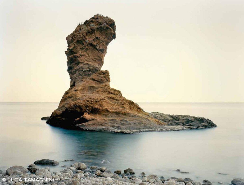Isola di Palmarola, Scoglio Spermaturo fotografia a posa lunga su lastra di pellicola di grande formato 4x5 pollici
