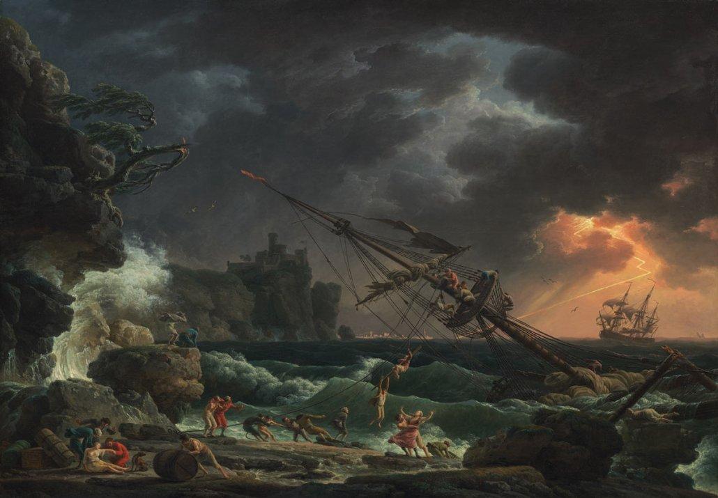 Paesaggio marino di Claude Joseph Vernet - Il naufragio (1772) - Groeninge Museum Bruges
