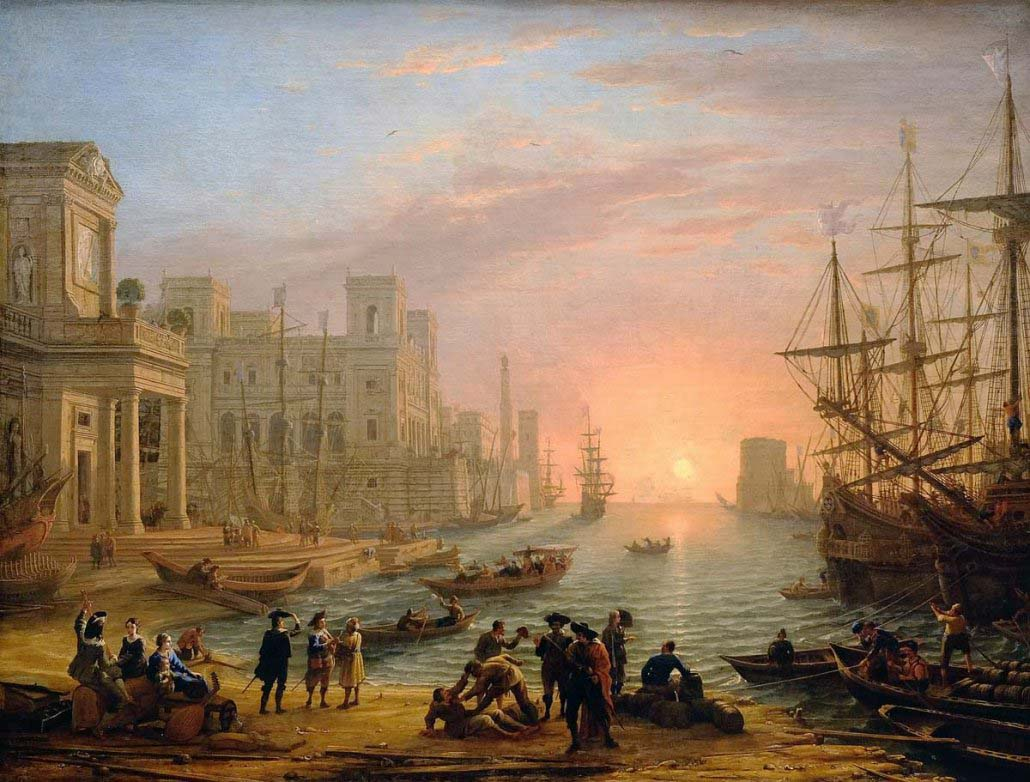 Claude Lorrain - Porto con galee al tramonto (1639) - Louvre
