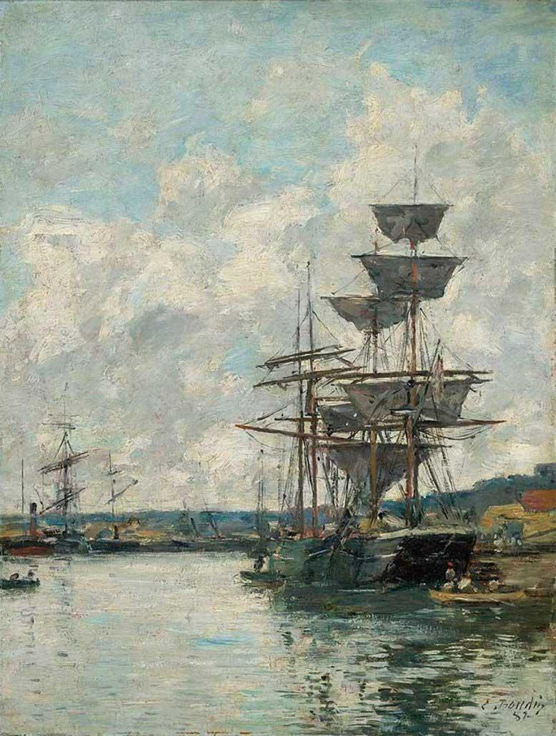 Paesaggio marino di Eugene Boudin - Ships at Le Havre (1887) - Museum of Fine Arts Boston