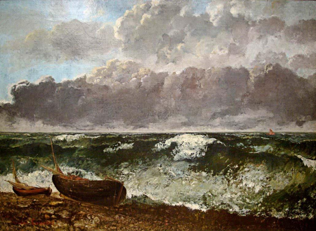 Paesaggio marino di Gustave Courbet - Il mare in burrasca detto anche L'onda (1869) - Museo d'Orsay Parigi