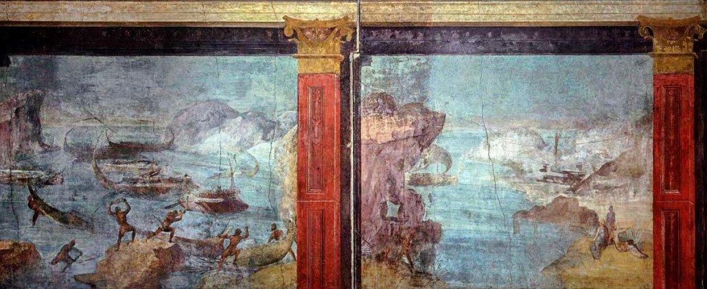Paesaggio marino, Arte dell'Antica Roma. Affresco (I sec. a.C.). Scene dell'Odissea: I Lestrigoni distruggono la flotta di Ulisse. Roma, Musei Vaticani.