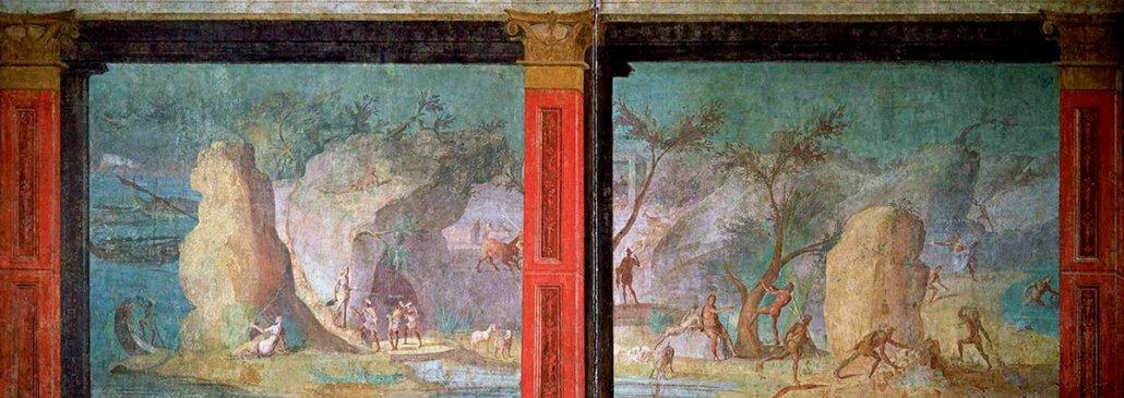 Paesaggio marino, Arte dell'Antica Roma. Affresco (I sec. a.C.). Scene dell'Odissea: Ulisse nella reggia di Circe. Roma, Musei Vaticani.
