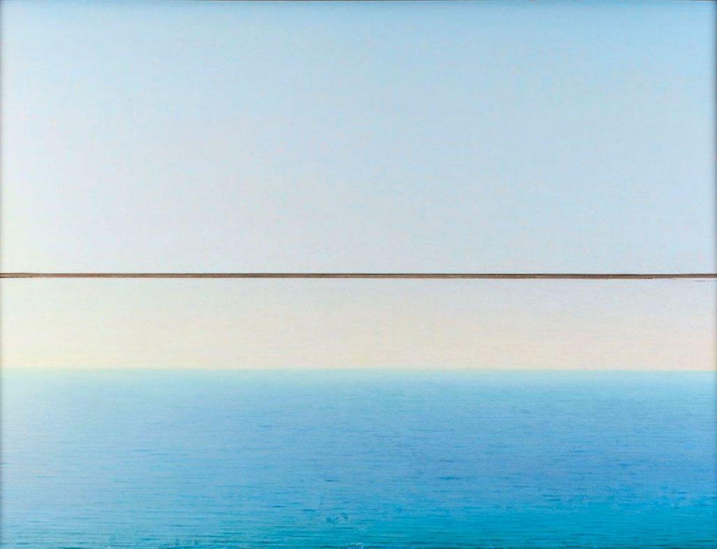 Paesaggio marino di Piero Guccione - Mare a Punta Corvo (1995-2000)