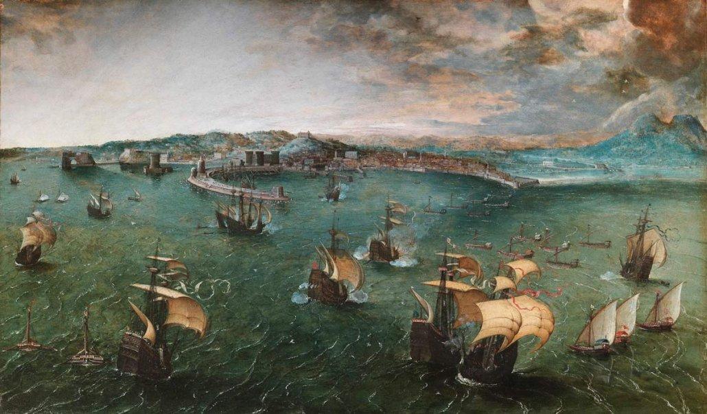 Paesaggio marino di Pieter Bruegel il Vecchio - Battaglia nel porto di Napoli (circa 1556) - Galleria Doria Pamphilj di Roma