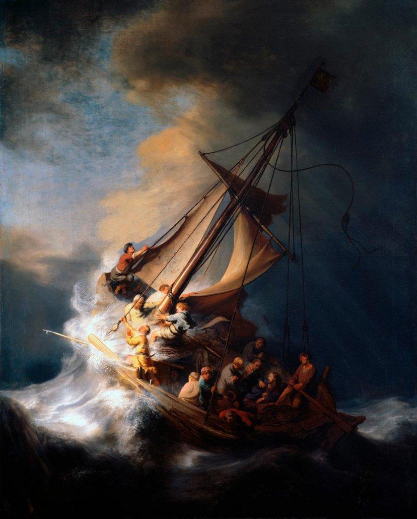Paesaggio marino di Rembrandt - Cristo nella tempesta sul mare di Galilea (1633) - Isabella Stewart-Gardner Museum Boston