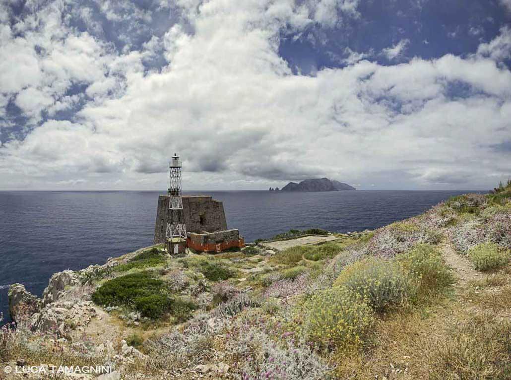 La Torre di Minerva a Punta Campanella, sullo sfondo l'Isola di Capri / Luca Tamagnini Catalogo 2021-019